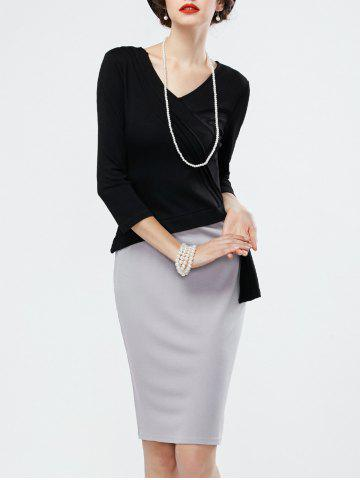Sale Two Tone Pencil Work Dress with Long Sleeves BLACK AND GREY M