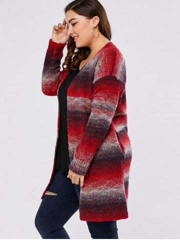 Affordable Plus Size Knitted Long Cardigan - 4XL RED Mobile