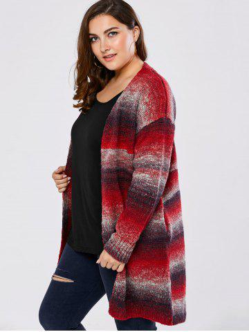 Discount Plus Size Knitted Long Cardigan - 4XL RED Mobile