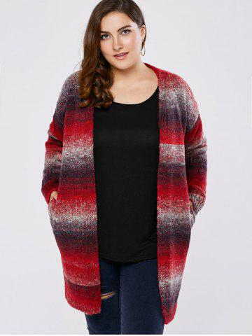 Unique Plus Size Knitted Long Cardigan - 4XL RED Mobile
