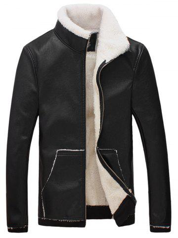 Sale Stand Collar Flocking Faux Leather Jacket BLACK 3XL
