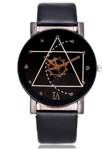 Outfit Faux Leather Watchband Gear Watch BLACK