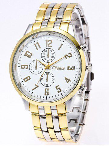 Chic Stainless Steel Business Quartz Watch GOLD/WHITE