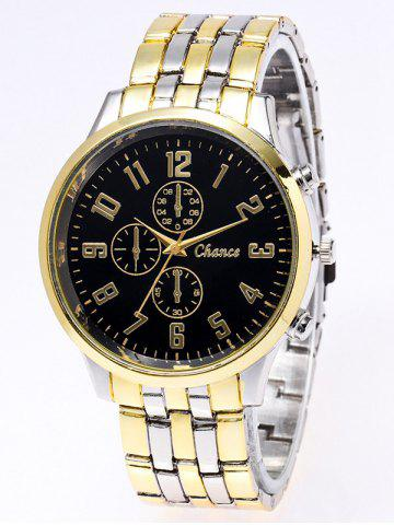 Latest Stainless Steel Business Quartz Watch BLACK AND GOLDEN