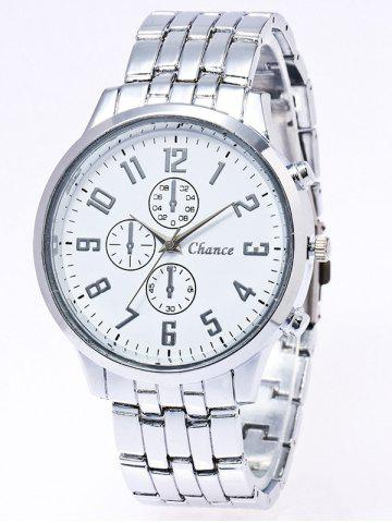Affordable Stainless Steel Business Quartz Watch SILVER WHITE