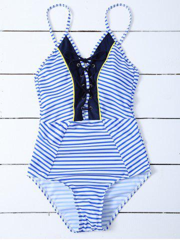 New Lace Up Criss Cross Striped Swimwear