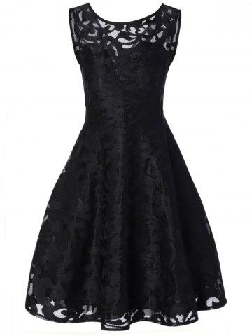 Lace Plus Size Vintage Party Midi Short Cocktail Dress - Black - 5xl