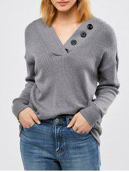 Button Decorated Ribbed Knitwear