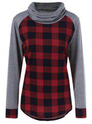 Plus Size Plaid Trim Curved T-Shirt