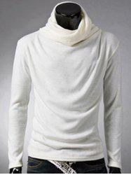 Brief Style High Neck Long Sleeve T-Shirt - WHITE 2XL