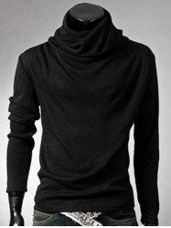 Brief Style High Neck Long Sleeve T-Shirt - BLACK