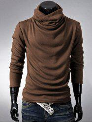 Brief Style High Neck Long Sleeve T-Shirt - COFFEE