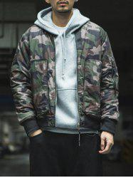 Zip Up Stand Collar Camo Bomber Jacket
