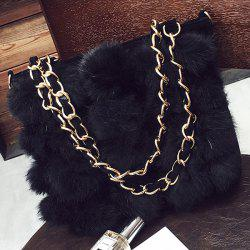 Chains Faux Fur Shoulder Bag