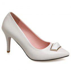 Metal Faux Leather Pumps - WHITE 38