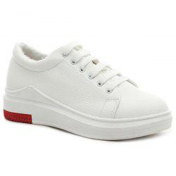 Faux Leather Tie Up Athletic Shoes -