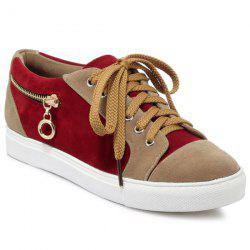 Zipper Tie Up Athletic Shoes - DEEP RED