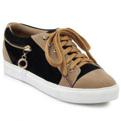 Zipper Tie Up Athletic Shoes - BLACK