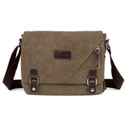 Zipper Embellished Canvas Messenger Bag
