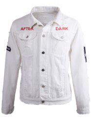 Printed Buttoned Ripped Denim Jacket - MILK WHITE