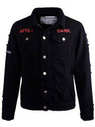 Printed Buttoned Ripped Denim Jacket - BLACK