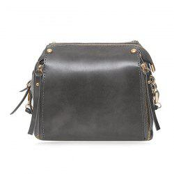 Faux Leather Multi Zips Crossbody Bag