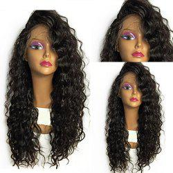 Shaggy Long Curly Heat Resistant Fiber Lace Front Wig - Noir