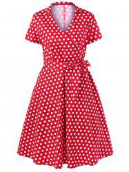 Polka Dot Plus Size Surplice Swing Dress