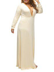 Plunge Plus Size Slit Maxi Dress With Long Sleeves