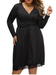 Lace Trim Plus Size Surplice Dress