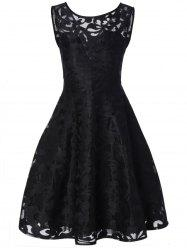 Sheer Lace Plus Size Vintage Party Short Dress - BLACK
