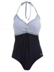 Halter Polka Dot Hollow Out One Piece Swimsuit