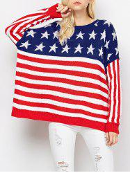 Color Block America Flag Pullover Sweater