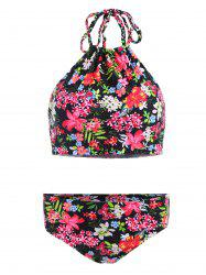 Halter Flower Bikini Set - BLACK S