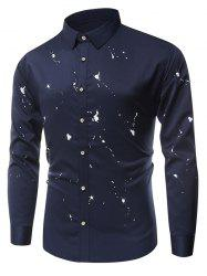 Long Sleeve Paint Splatter Button Up Shirt