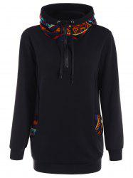 Hooded Plus Size Zippered Patterned Hoodie - BLACK