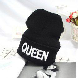 Flanging Knitted Beanie with Queen Embroidery - WHITE
