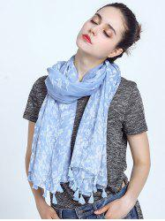 Oblong Leaf Print Voile Scarf with Tassel Pendant Edge