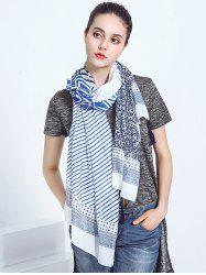 Oblong Voile Scarf with Striped Leaf Printed
