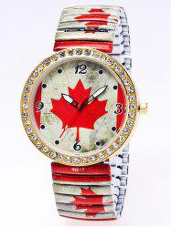 Rhinestone Maple Leaf Printed Quartz Watch