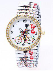 Rhinestone Heart Bike Printed Quartz Watch