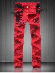 Zipper Fly Pocket Paint Splatter Straight Jeans - RED