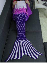 Ombre Color Knitting Fish Scales Design Mermaid Tail Style Blanket - DEEP PURPLE