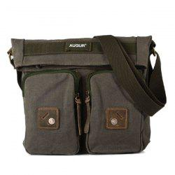 Fold Over Canvas Messenger Bag - OLIVE GREEN