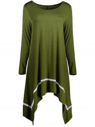 Scoop Neck Asymmetrical Plus Size Tunic Top -