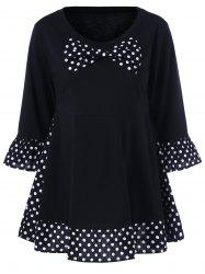 Plus Size Polka Dot Ruffled Bowknot T-Shirt