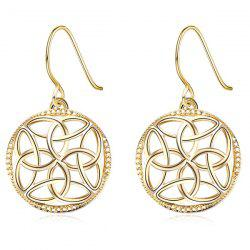 Round Hollow Out Dangle Earrings - GOLDEN