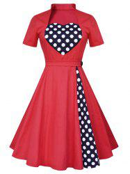 Vintage Polka Dot Panel High Waist Dress