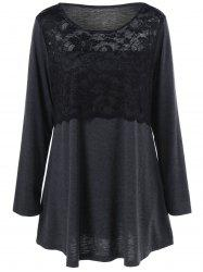 Plus Size Lace Insert Tunic T-Shirt