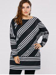 Plus Size Drop Shoulder Striped Tunic T-Shirt